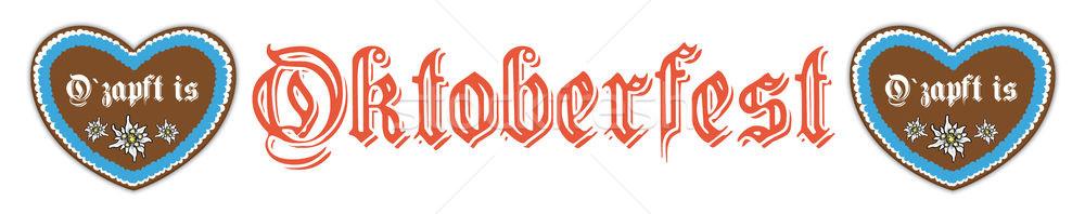 Oktoberfest fehér fejléc szívek szöveg csap Stock fotó © limbi007