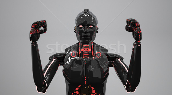 Noir agressif robot 3d illustration industrie industrielle Photo stock © limbi007