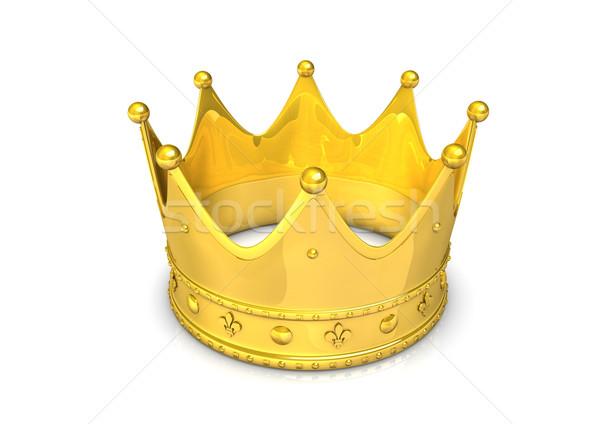Dourado coroa ilustração 3d isolado branco celebração Foto stock © limbi007