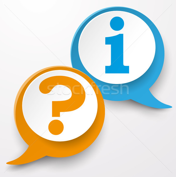 Soru bilgi konuşma balonu etiketler kâğıt simge Stok fotoğraf © limbi007