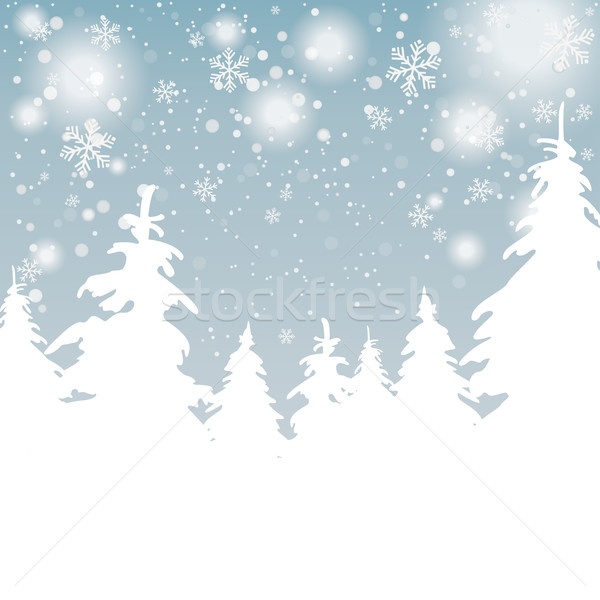 Snow Background Christmas Trees Stock photo © limbi007
