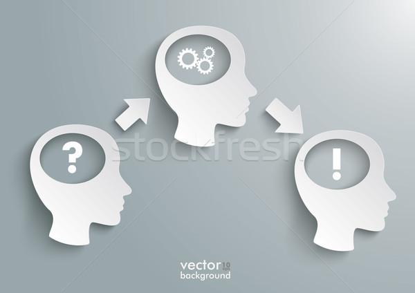 Drie vraag oplossing versnellingen witte grijs Stockfoto © limbi007