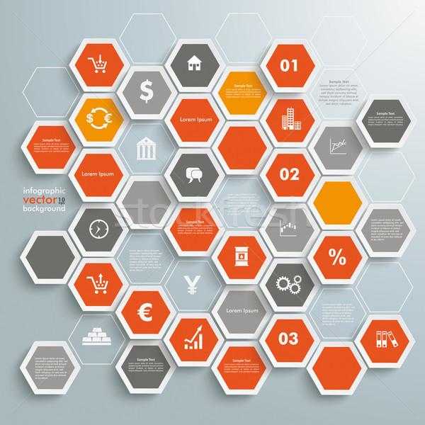 Colorato a nido d'ape commerciante infografica struttura grigio Foto d'archivio © limbi007