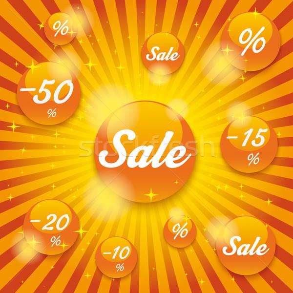 Orange Sale Buttons Retro Background Stock photo © limbi007