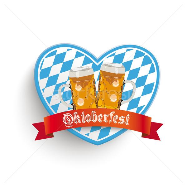 Coração cerveja cores branco eps 10 Foto stock © limbi007