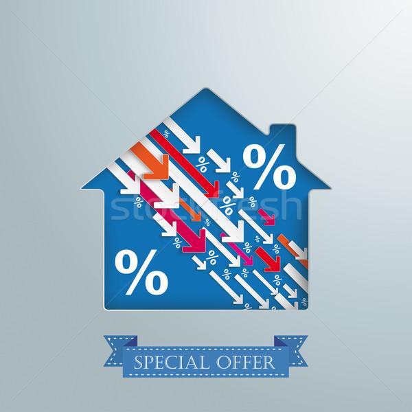 Huis gat naar beneden percentage pijlen banner Stockfoto © limbi007