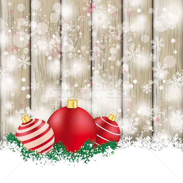 Snowfall Ash Wood Red Baubles Sale Stock photo © limbi007