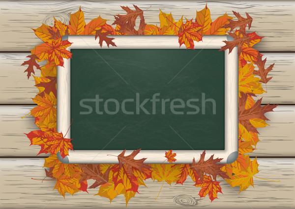 Autumn Foliage Blackboard Wood Stock photo © limbi007