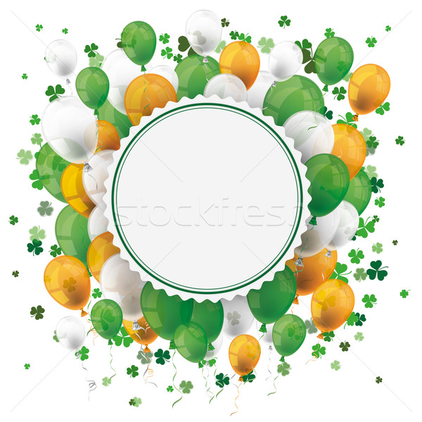 St Patricks Day Empty Emblem Balloons Cloverleafs Stock photo © limbi007