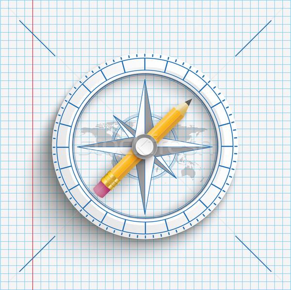 Compass Pencil Checked Paper Stock photo © limbi007