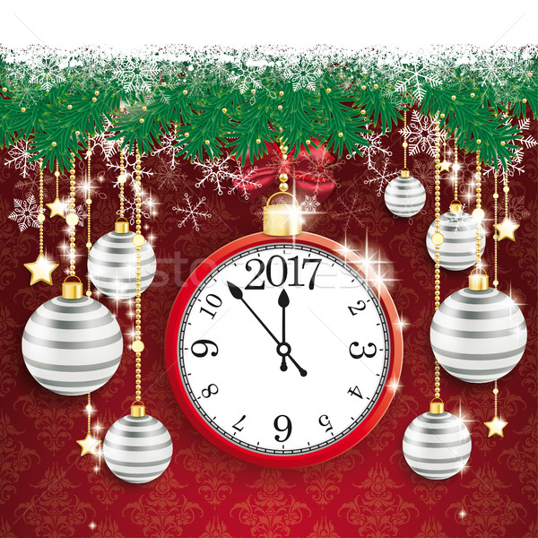 Clock neve bokeh grigio rosso Foto d'archivio © limbi007