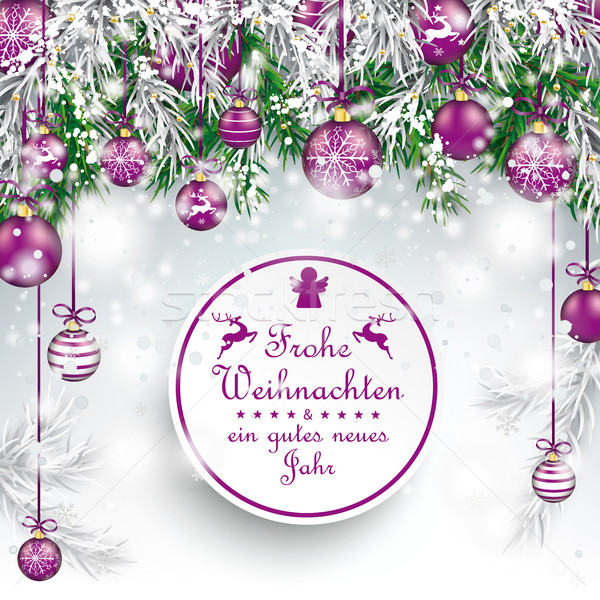 Christmas  Frozen Green Twigs Purple Baubles Frohe Weihnachten Stock photo © limbi007