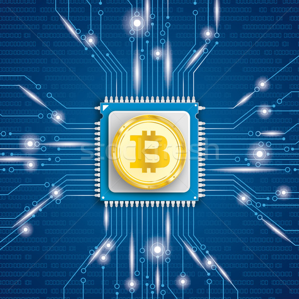Golden Bitcoin Microchip Processor Lights Stock photo © limbi007