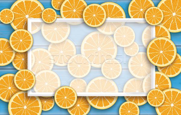 Blue Wooden Board Orange Fruits Header Stock photo © limbi007