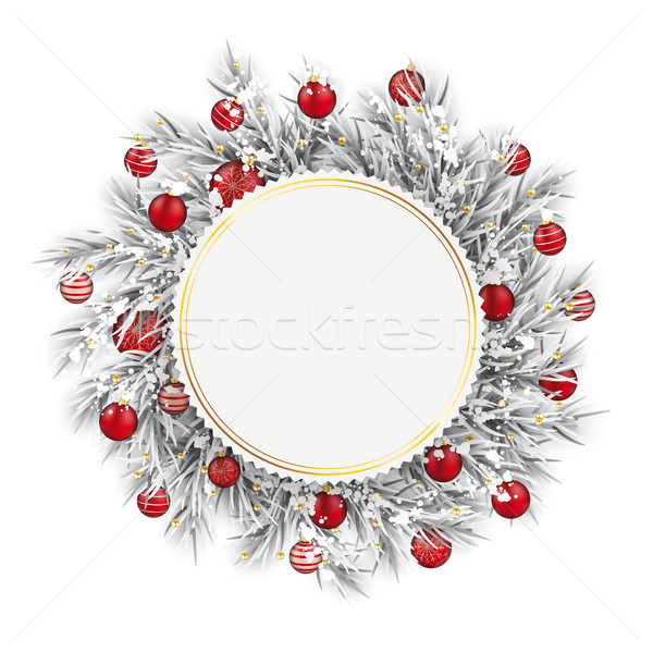 Frozen Twigs Golden Emblem Snow Red Baubles Stock photo © limbi007
