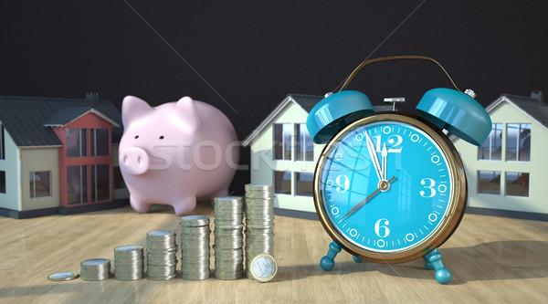 Euro Coins Piggy Bank House Alarmer Stock photo © limbi007