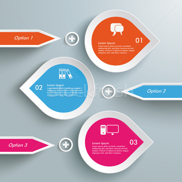 Stock fotó: Három · színes · cseppek · vonal · infografika · fehér