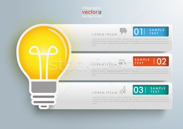 Stock photo: Bulb 3 Rectangles Banners Infographic