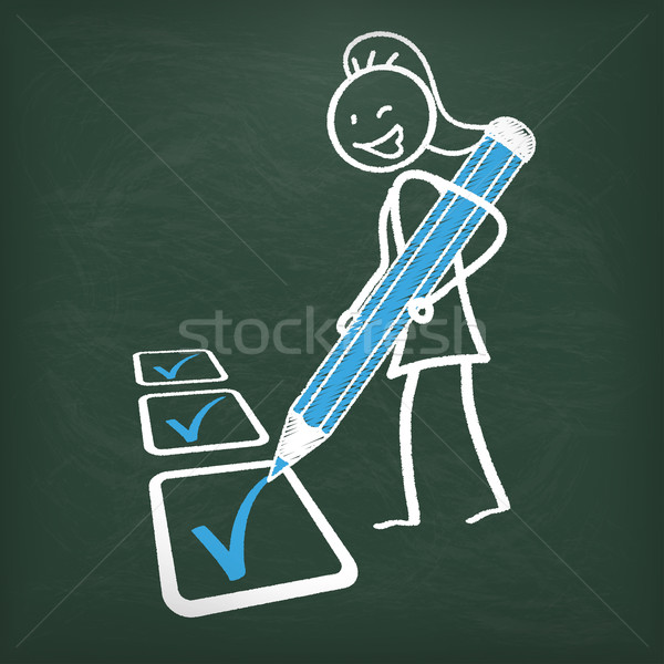 Blackboard Stickwoman Checklist Blue Pen Stock photo © limbi007