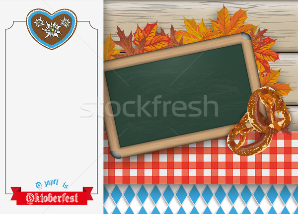 Oktoberfest Oblong Banner Blackboard Pretzel Wood Stock photo © limbi007