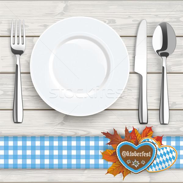 Wood Knife Fork Spoon Plate Oktoberfest Blue Tablecloth Stock photo © limbi007