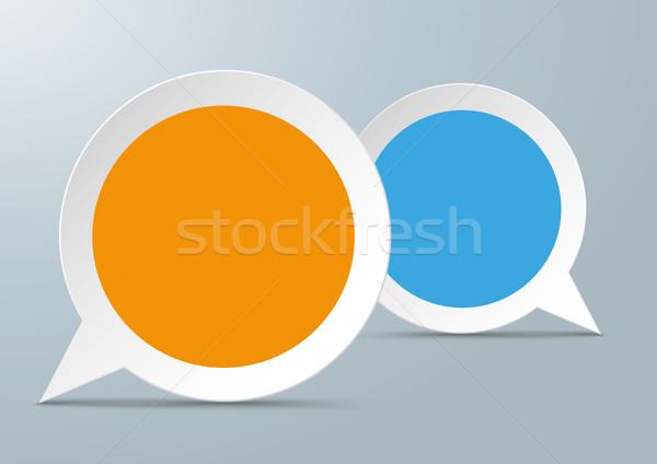 2 Round Speech Bubbles Colored Centre Stock photo © limbi007