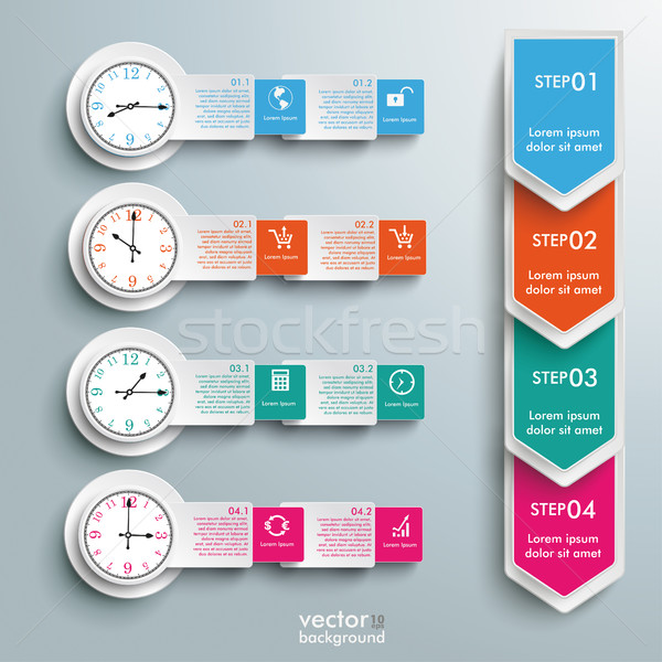 4 Circle Batched Banners Arrows Clocks Timetable Stock photo © limbi007