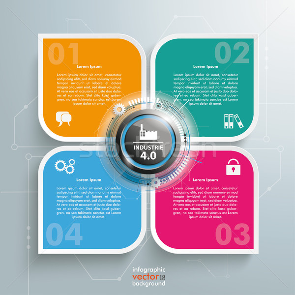 Industrie 4.0 Round Quadrates Template 4 Options Stock photo © limbi007