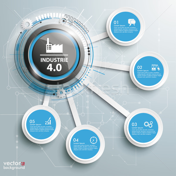 Infographic Industrie 4.0 5 Connected Circles Stock photo © limbi007