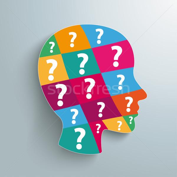 Menselijke hoofd gekleurd vraag stukken Stockfoto © limbi007