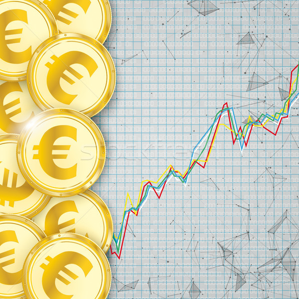 Chart Golden Euro Coin Digital Connected Dots Cover Stock photo © limbi007