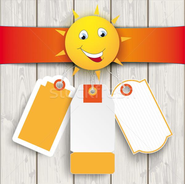 Funny Sun Face Price Stickers Wood Stock photo © limbi007