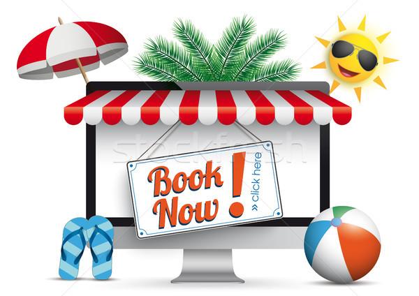 PC Monitor Marquee Palms Sun Flip-Flops Book Now Stock photo © limbi007