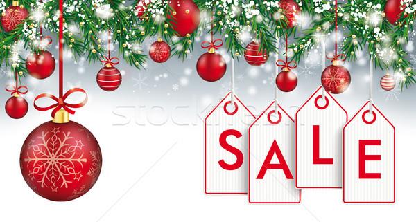 Christmas Header Twigs Snow Baubles Sale Price Stickers Stock photo © limbi007