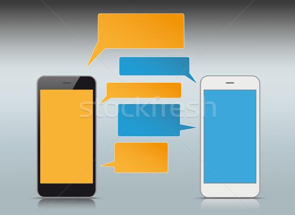 Zwart wit smartphones kleurrijk eps 10 Stockfoto © limbi007