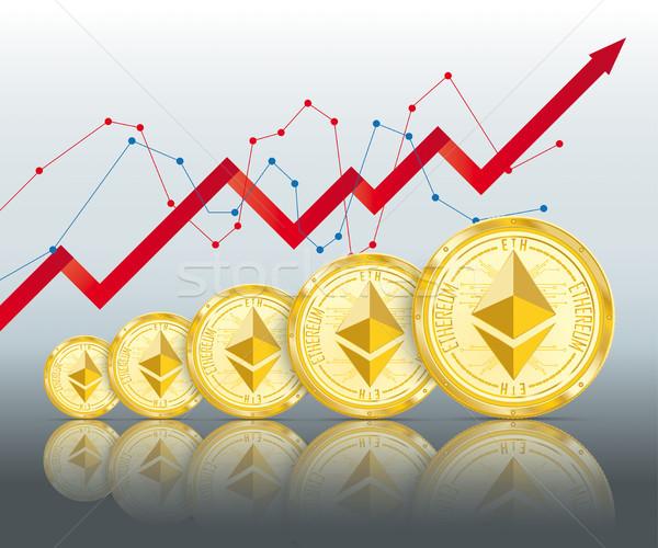 Golden Ethereum Growth Mirror Chart Stock photo © limbi007