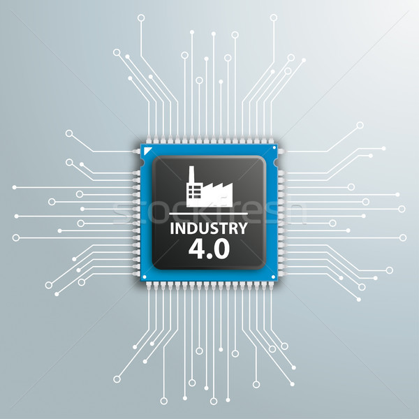 Industry 4.0 Futuristic Processor Circuit Board Infographic Stock photo © limbi007