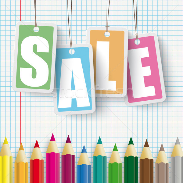 Colored Pens Checked Paper Price Stickers Sale Stock photo © limbi007