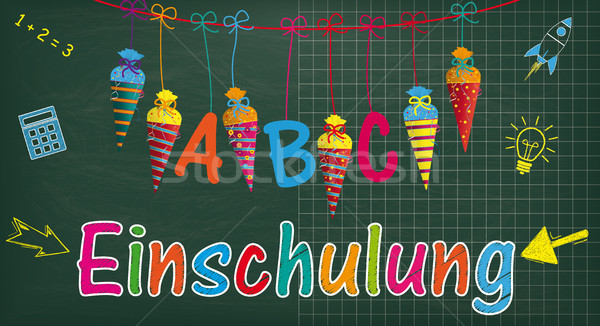 Long Blackboard Balloons Candy Cones Einschulung Stock photo © limbi007