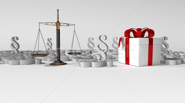 Nyaláb egyensúly ajándék fehér karton 3d illusztráció Stock fotó © limbi007