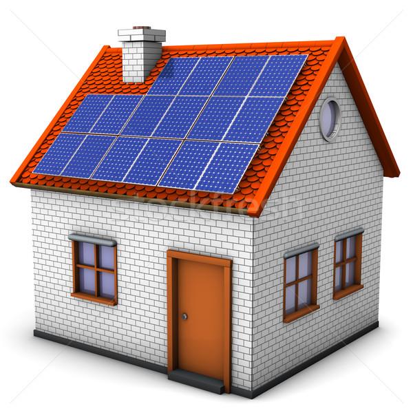 Huis zonnepanelen witte venster baksteen klasse Stockfoto © limbi007