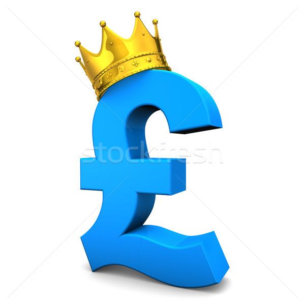Font arany korona kék szimbólum fehér Stock fotó © limbi007