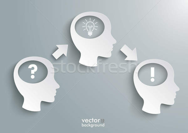 Three Heads Question Solution Bulb Stock photo © limbi007