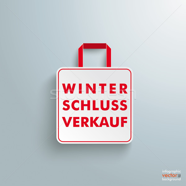 White Paper Shopping Bag Winterschlussverkauf Stock photo © limbi007