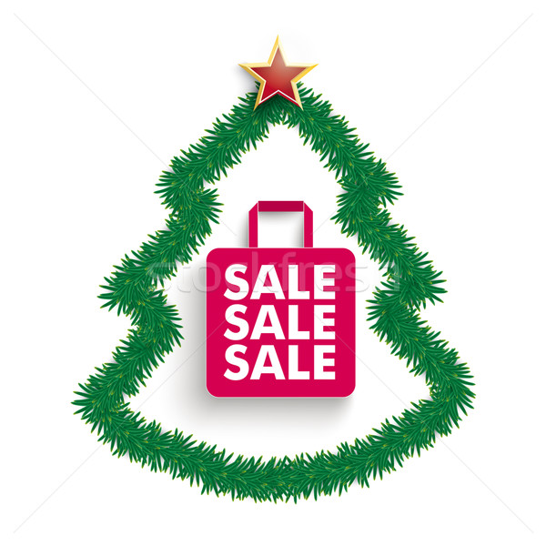 Fir Twigs Christmas Tree Shopping Bag Sale Stock photo © limbi007