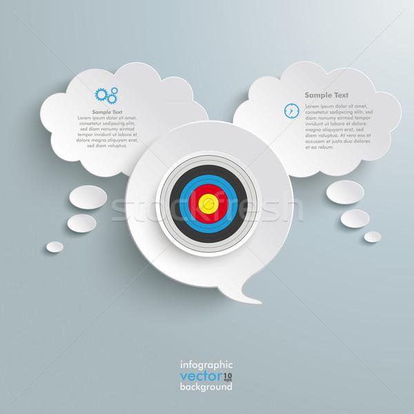 2 White Thought 1 Speech Bubble Target Stock photo © limbi007