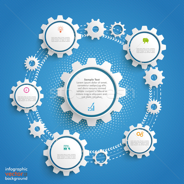 Gears Cycle Infographic Blue Background Stock photo © limbi007