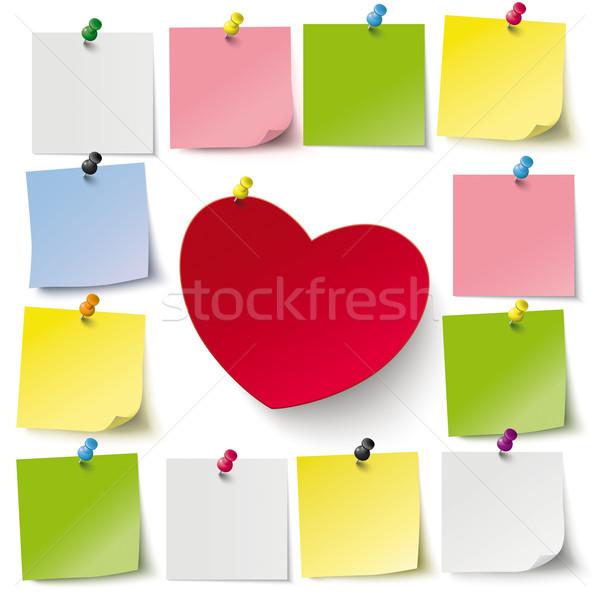 Hart stickers Rood grijs eps 10 Stockfoto © limbi007