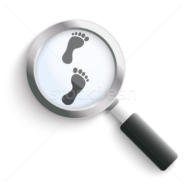 Lábnyom fekete nagyító lábnyomok fehér eps Stock fotó © limbi007