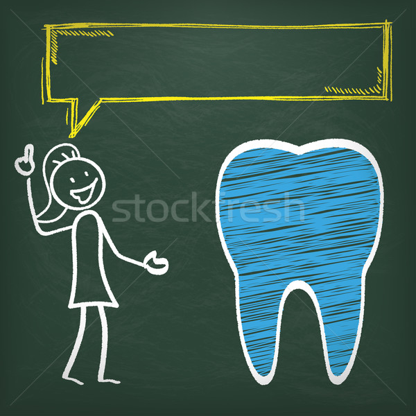 Blackboard Stickwoman Tooth Speech Bubble Stock photo © limbi007